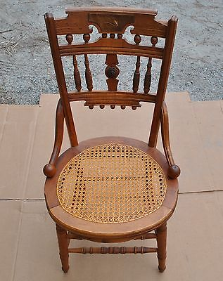 Antique Cane Chair with Oval Seat