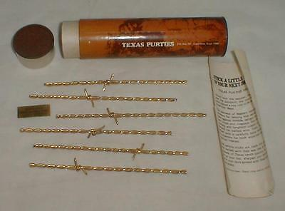 Texas Purities Set Of 6 Barbed Wire Swizzle Sticks 24k Gold Plated Vintage