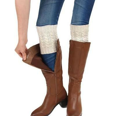 1 Pair Womens Cable Knit Boot Leg Cuffs Faux Socks Knee Warmers, Ivory