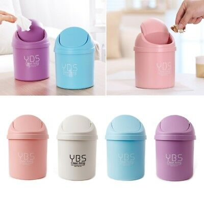 Mini Small Waste Bin Desktop Garbage Basket Table Home Trash Can Roll Swing Lid