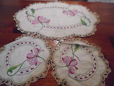 Vintage Embroidered doilies Dressing table Duchess set x 3 purple flowers  lace