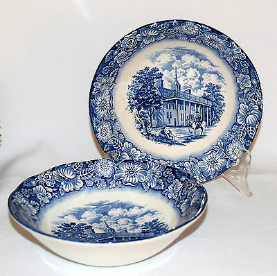 * 2 Vintage Liberty Blue, Staffordshire, Historic Colonial Scenes Cereal Bowls