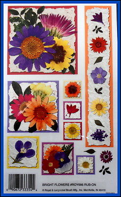 *BRIGHT FLOWERS* Royal & Langnickel rub--ons *Scrapbooking/Cardmaking/Papercraft