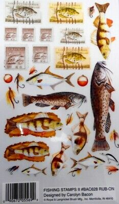 *FISH & FISHING STAMPS*  Royal & Langnickel rub--ons *Scrapbooking/Cardmaking