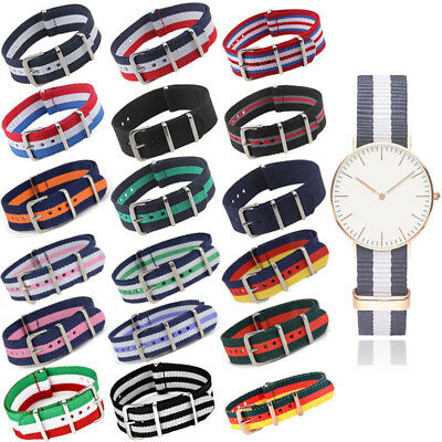 Retro Infantry Military Army Fabric Buckle Nylon Wrist Watch Band Strap 18-22mm