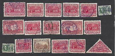 Lot of 17 EARLY COSTA RICA STAMPS (SOME MULTIPLES) used