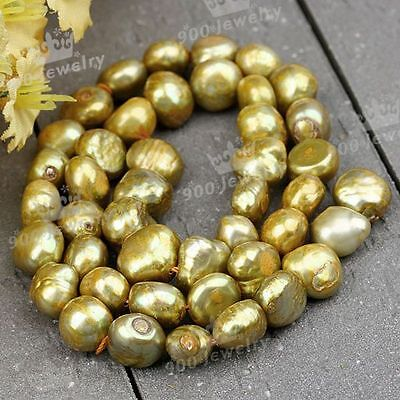 9-10Mm Cultured Freshwater Nugget Golden Pearl Beads For Jewellery Craft Diy