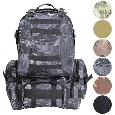 cac765b0313a 55L Backpack Molle Sport Military Tactical Bag Camping Hiking Trekking  Rucksack