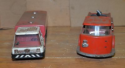 2 1960's Texaco Pressed steel Buddy L fire chief truck park jet fuel collectible