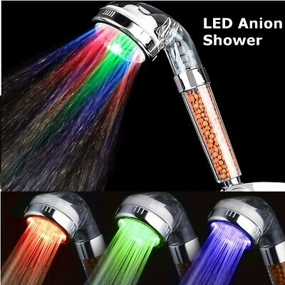 LED Change Anion SPA Water-saving Shower Head Filtration Bathroom Handheld S L