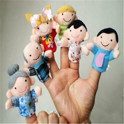 6X Baby Family Educational Story Finger Toy Kid Puppets Plush Hand Doll Gift XC