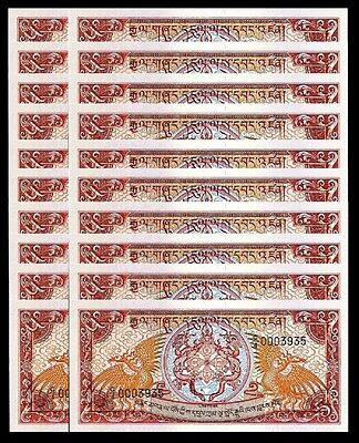 Bhutan 5 Ngultrum 1985 1990 Unc 20 Pcs Lot P 14B Sign 3 C/4 Low Serial 000****
