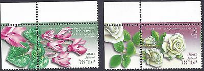 pair Israel stamps flowers  MNH cyclamen persicum & rosa