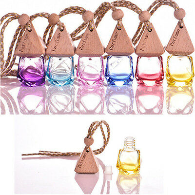 Home Car Hanging Air Freshener Perfume Fragrance Diffuser Empty Glass Bottle Cla