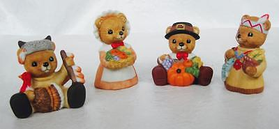 Homco Bear Thanksgiving Turkey Harvest #1413 Lot of 4 Porcelain Bisque Figurines