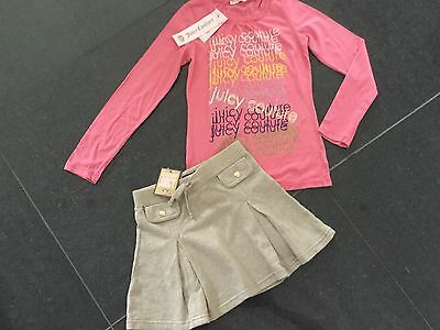 NWT Juicy Couture New & Gen. Gold Cotton Skirt & Pink T-Shirt Set Girls Age 8