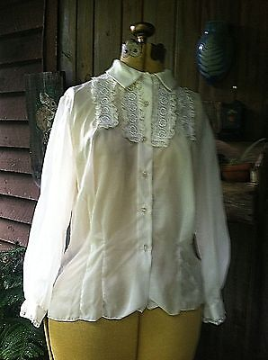 """Vintage 1950's Sheer """"See More"""" BLOUSE B 42"""" Lace Rhinestone Buttons ROCKABILLY"""