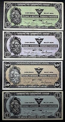 Collection of 4x Canadian Tire Money Notes - 5, 25, 50 Cents, & $1 Dollar