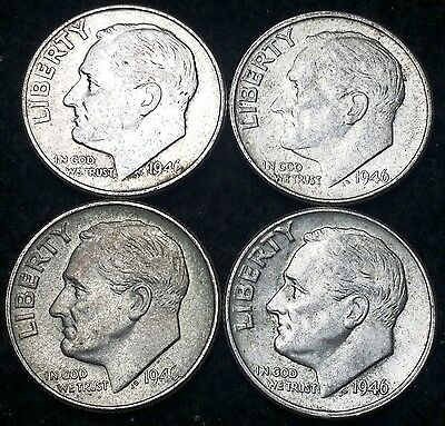 Lot of 4 1946 Roosevelt 90% Silver Dimes - 10 Cents **GREAT CONDITION**