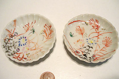 2 Victorian Butter Pats Hand-Painted Fluted Ruffled Edge - Unmarked Antique