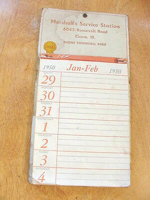 1950 Cicero Illinois Shell Gas Marshall's Service Station Advertising Calendar