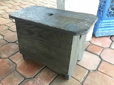 Vintage Hand Crafted PRIMITIVE Wood Utility Step Stool/ Bench ~ Gray