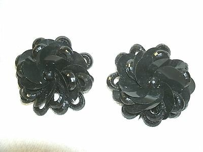 Shoe-Clips---Black Jet Flowers----Puffy---So Pretty!!