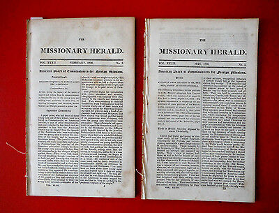Lot 2 SIOUX March & May 1836 tribal observations in antique MISSIONARY HERALD