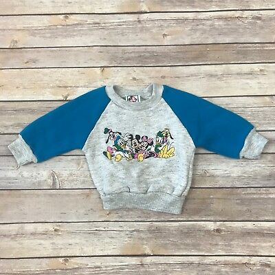 DISNEY Boys Size 12m VINTAGE Gray Turquoise Blue Long Sleeved Sweatshirt
