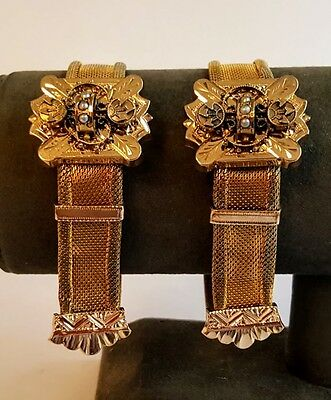 Pair of Victorian Mesh Slide Bracelets Gold Filled, Pearl Mounted Lovely