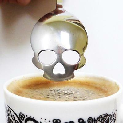 Stainless Steel Skull Shape Coffee Sugar Spoon Dessert Gothic Funny Gift New C