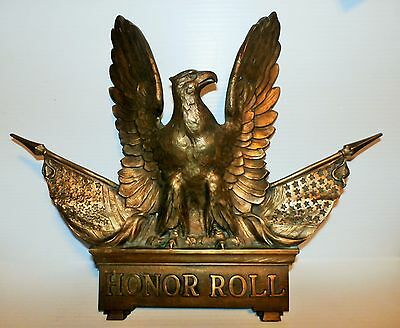 """Brass Cast Metal American Eagle Wall Plaque """"Honor Roll"""" with Flags"""