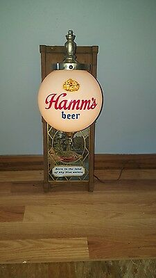 (VTG) 1960s HAMMS BEER GLOBE LIGHT UP WALL BAR SIGN RED CANOE & WATER MAN CAVE