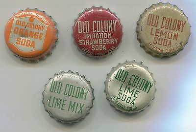 Old Colony 5 Different Cork-Backed Caps Crowns