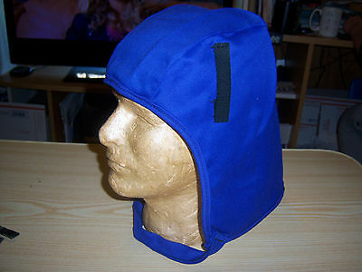 ITEX BANOX FR-3 Flame Resistant Hard Hat Liner Hood w Chin Strap Blue With White