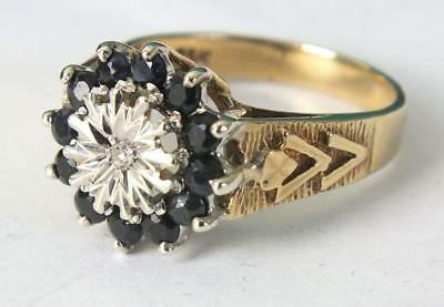 5.4g 9ct Solid Gold Diamond & Eleven Sapphire Ring - UK Size O/P - US  7 to 7.5