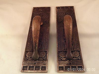 "Antique Brass Bronze Handle Door Pulls Double Door Store Front 10 1/2""  #607"