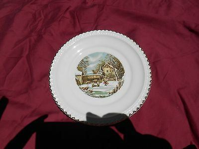 """Harkerware USA 6-1/4'' Plate Currier & Ives """"The Farmers Home""""-Winter"""