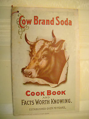 DWIGHT'S COW BRAND SODA antique 1913, 33 pg COOK BOOK LITHOGRAPH cow recipes