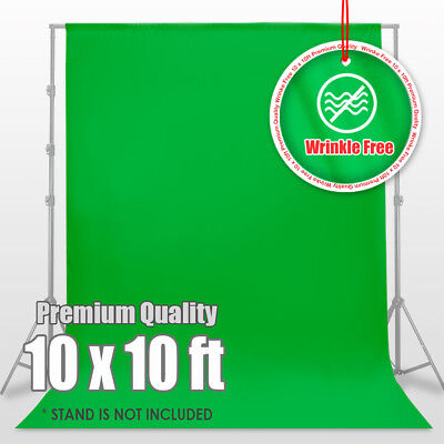 10' x 10' Washable 100% Cotton Chromakey Green Screen Muslin Backdrop