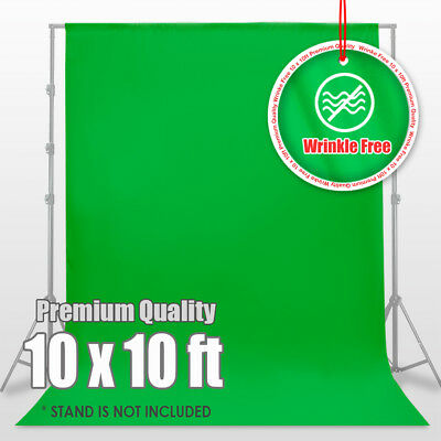 10' x 10' Wrinkle Free Polyester Chromakey Green Screen Muslin Backdrop