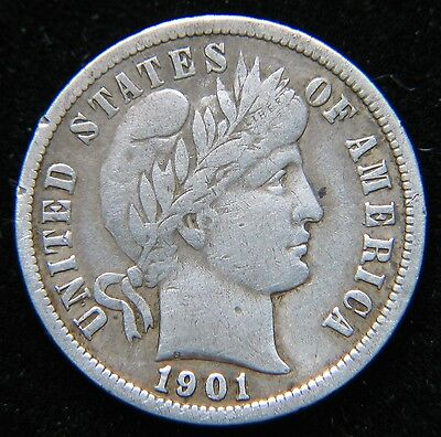 1901-S 10C Barber Silver Dime Rare Key Date San Francisco Full Bold Liberty