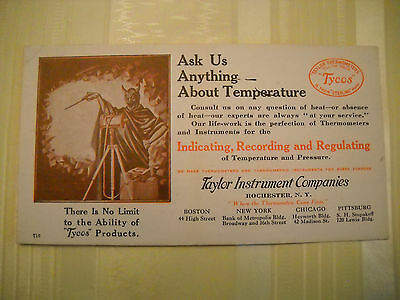 TAYLOR THERMOMETERS used Vintage BLOTTER LITHO devil measures temp ROCHESTER NY