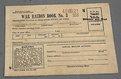 1943 WWII WW2 War Ration Book No. 3 192 Stamps Tanks Planes Cannons Issued 1945