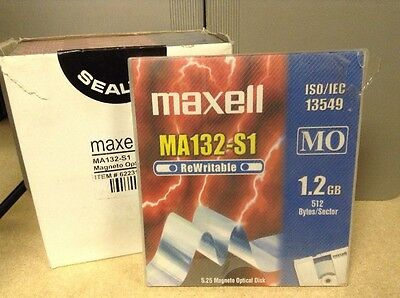44x Maxell MA 132-S1 Rewritable 1.2 GB 512 Bytes/Sector Magneto Optical Disk