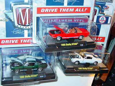 M2 MACHINES CARROLL SHELBY MUSTANG SET of 3 1965 FASTBACK 1966 1968 CONVRT GT350