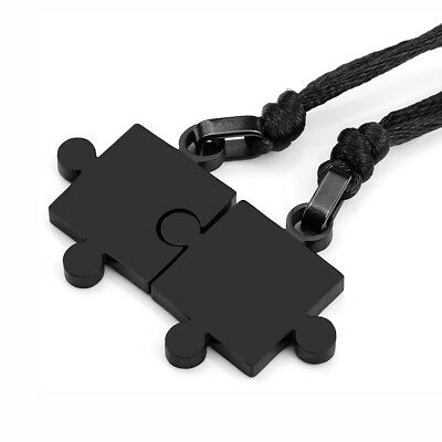 MENDINO His & Hers Stainless Steel Pendant Necklace Couples Puzzle Love Black