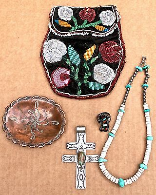 5 Native American Antique Objects Zuni & Navajo Jewelry Woodlands Beaded Bag