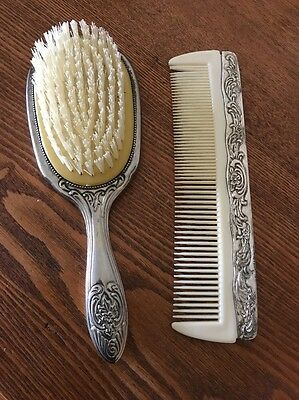 Silver plate Vintage Brush And Comb Set