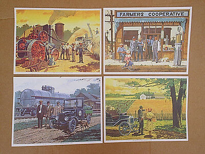 1976 MIDLAND COOPERATIVES 4-ART PRINTS 50 Years Of Service,farmers,co-op,wheat